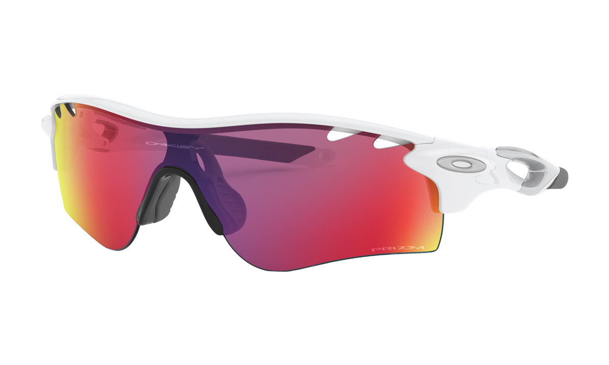 Men's Oakley RadarLock Path Asia Fit Sunglasses in Polished White/Prizm Road from the front view