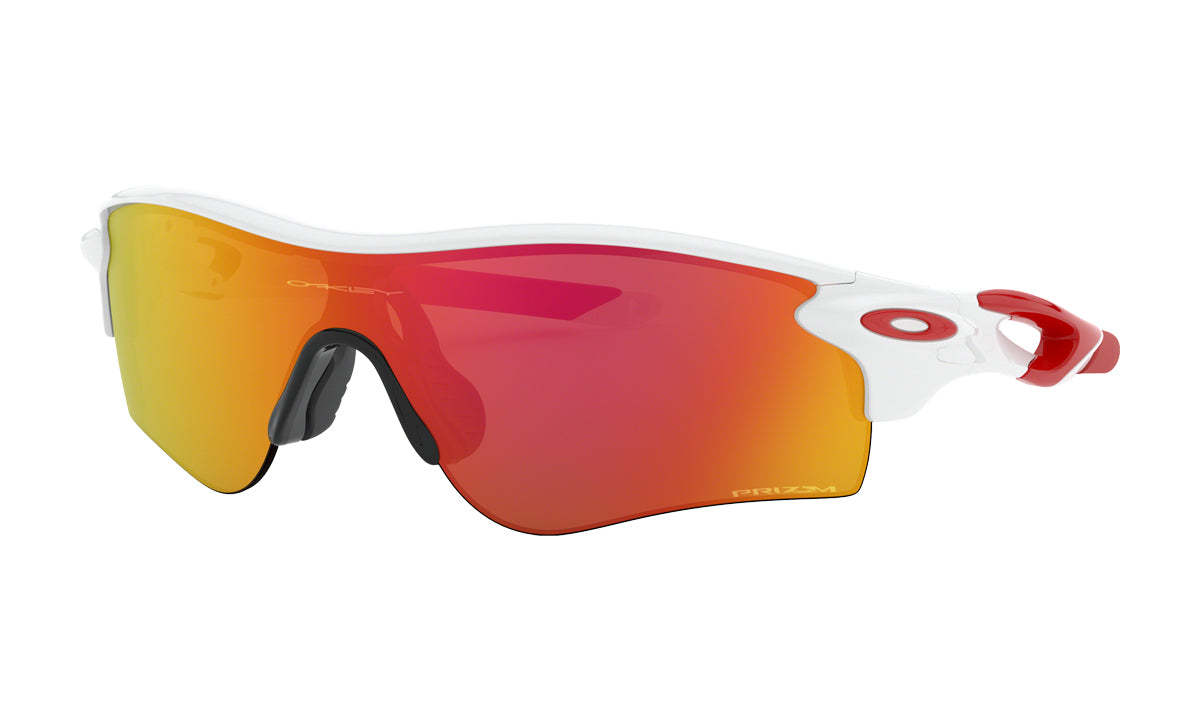 Men's Oakley RadarLock Path Asia Fit Sunglasses in Polished White/Prizm Ruby from the front view