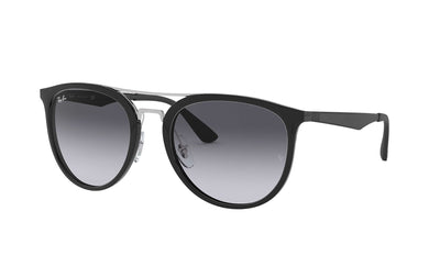 Men's Ray-Ban RB4285 Round Sunglasses in Black/Light Grey Gradient Dark Grey from the front view