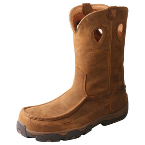 "Men's Twisted X 11"" Pull-On Hiker Boot in Distressed Saddle & Saddle from the front"