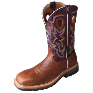 "Men's Twisted X 12"" Composite Toe Lite Western Work Boot in Grained Bomber & Purple from the front"