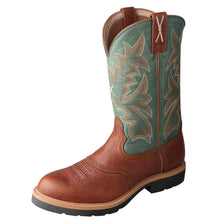 "Load image into Gallery viewer, Men's Twisted X 12"" Western Work Boot in Cognac Glazed Pebble & Dark Green from the front"