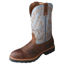 "Load image into Gallery viewer, Men's Twisted X 12"" Western Work Boot in Distressed Saddle & Denim from the front"