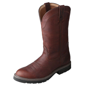 "Men's Twisted X 12"" Western Work Boot in Oiled Brown & Brown from the front"