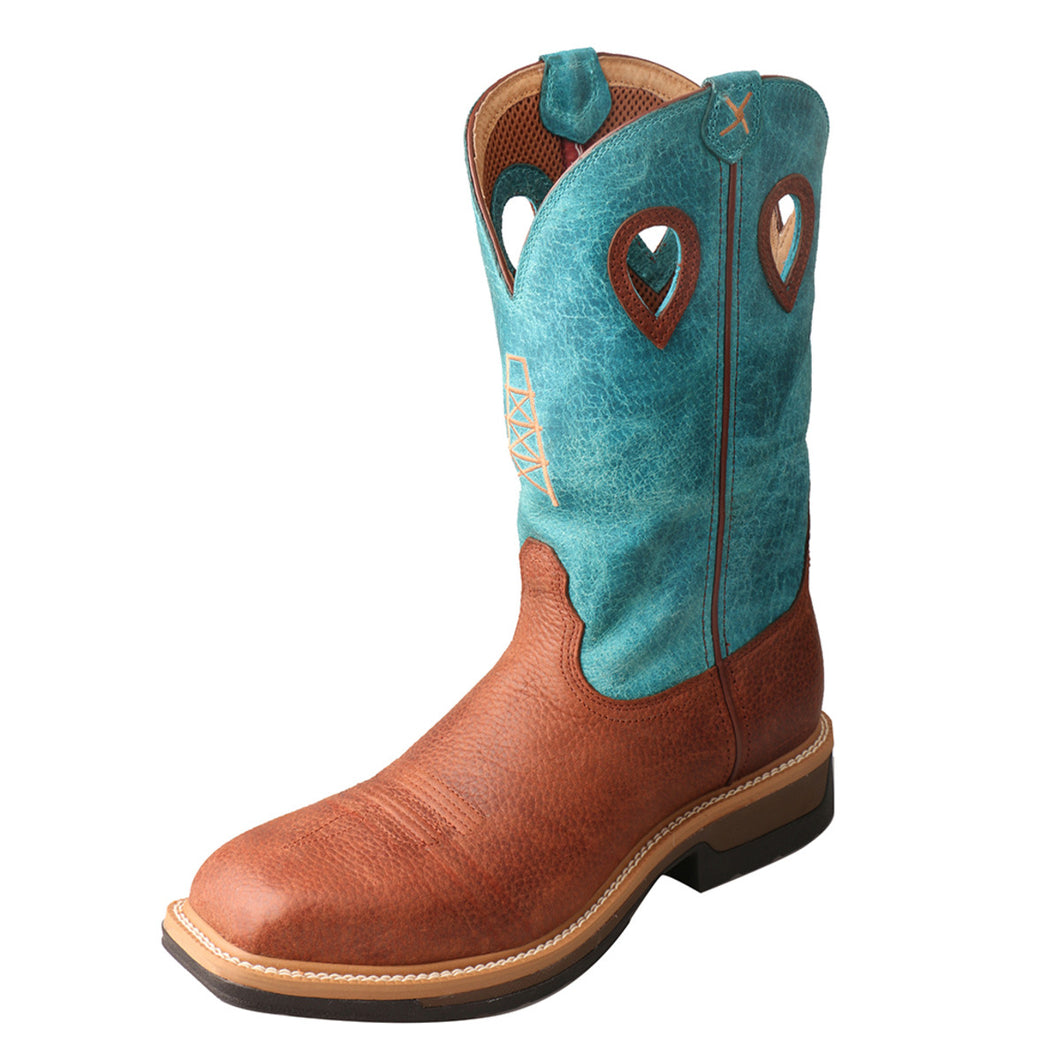 Men's Twisted X Alloy Toe Lite Western Work Boot in Brown & Turquoise from the front