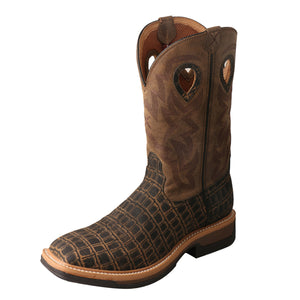 Men's Twisted X Alloy Toe Lite Western Work Boot in Caiman Print & Bomber from the front