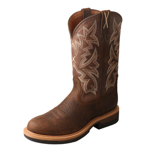 Men's Twisted X Alloy Toe Lite Western Work Boot in Taupe & Brown from the front