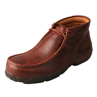 Men's Twisted X Driving Moccasin in Cognac Glazed Pebble from the front