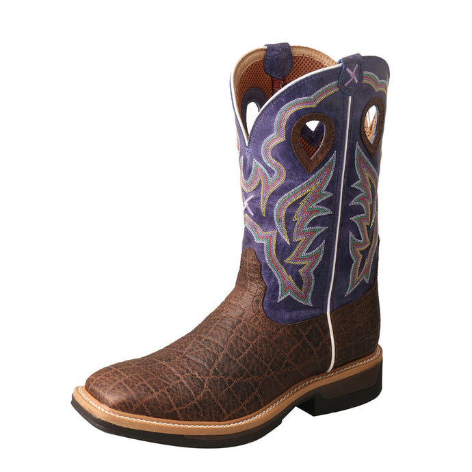 Men's Twisted X Lite Western Work Boot in Brown & Purple from the front