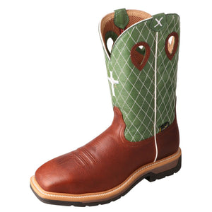 Men's Twisted X Steel Toe Lite Western Work Boot - MetGuard in Cognac Glazed Pebble & Lime from the front