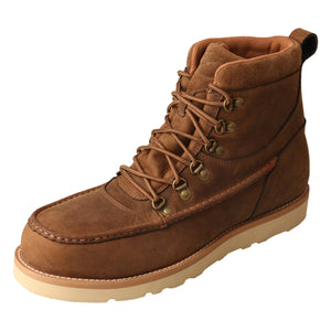 "Men's Twisted X Work 6"" Alloy Toe Wedge Sole Boot - Waterproof in Distressed Saddle from the front"