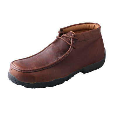 Men's Twisted X Work Composite Toe Chukka Driving Moccasin in Oiled Brown from the front