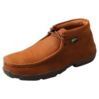 Men's Twisted X Work Steel Toe Chukka Driving Moccasin - MetGuard in Peanut from the front