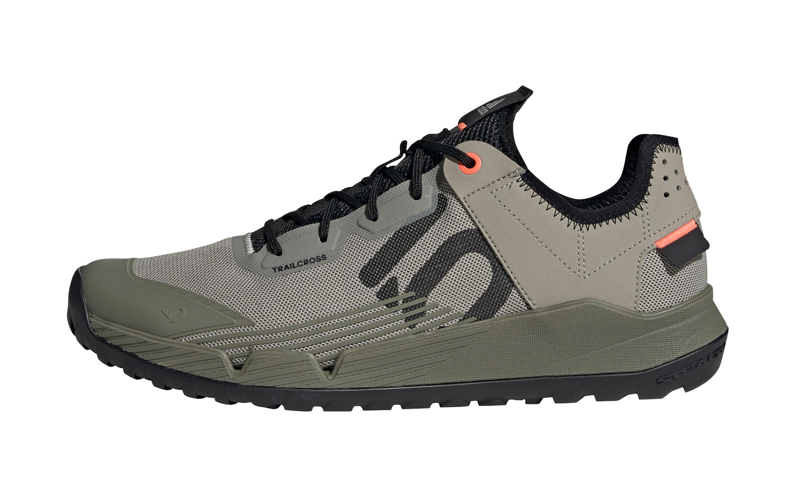 Men's Adidas Five Ten Trailcross LT Mountain Bike Shoe in Feather Grey/Core Black/Signal Coral from the side