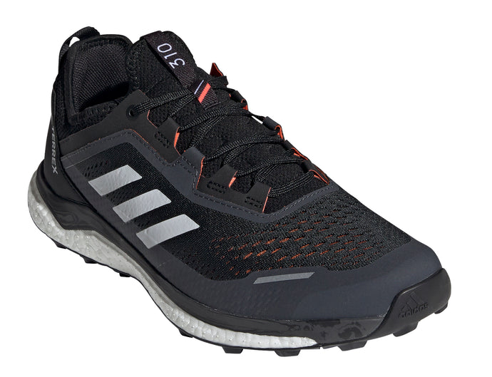 Men's adidas Terrex Agravic Flow Trail Running Shoe in Core Black/Crystal White/Solar Red from the front