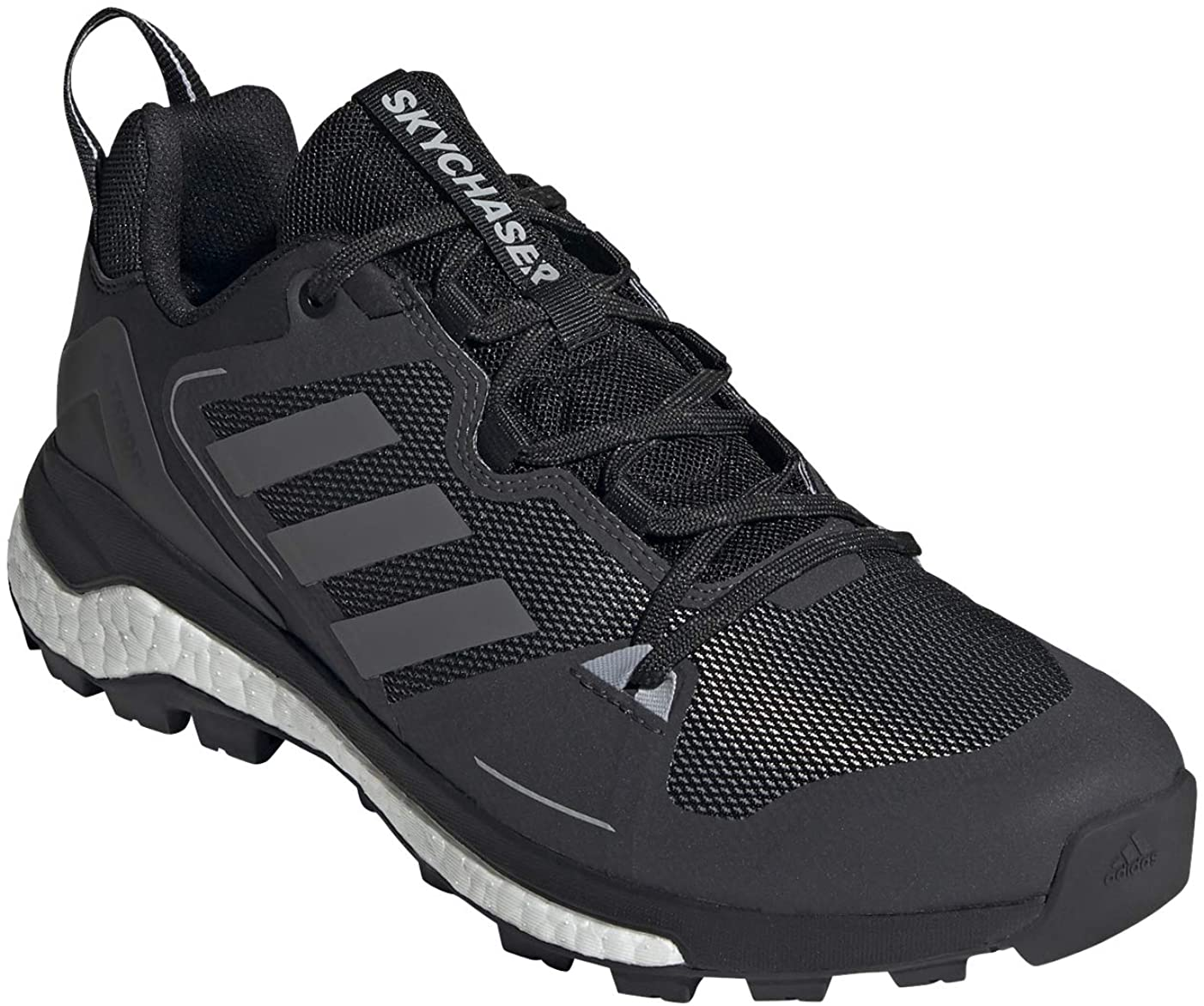 Men's adidas Terrex Skychaser 2.0 Hiking Shoe Core Black/Grey Four/Dgh Solid Grey from the front