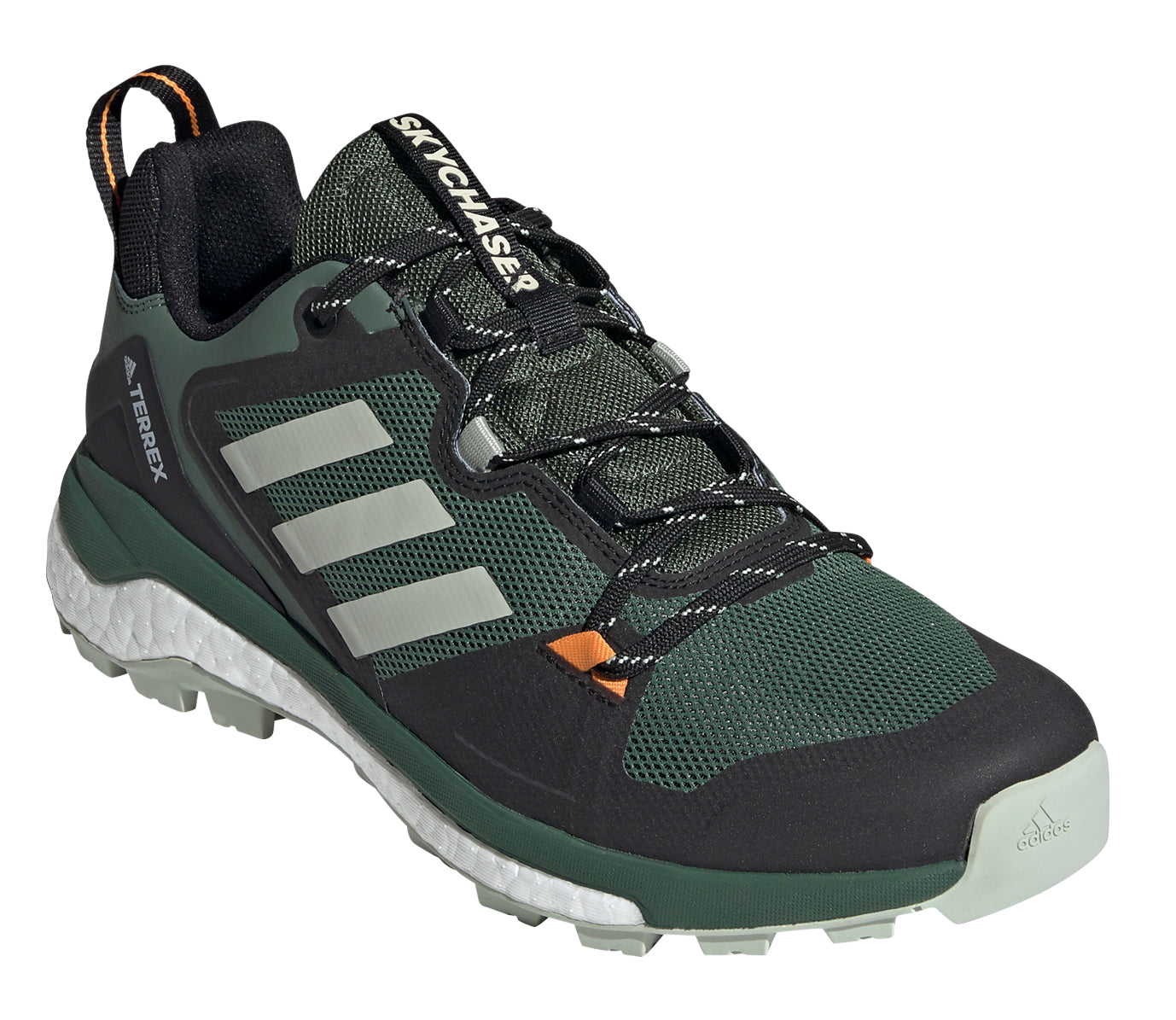 Men's adidas Terrex Skychaser 2.0 Hiking Shoe in Green Oxide/Halo Green/Crew Orange from the front