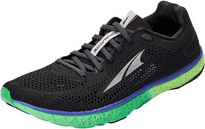 Altra Men's Escalante Racer Road Running Shoe in Black/Green from the side