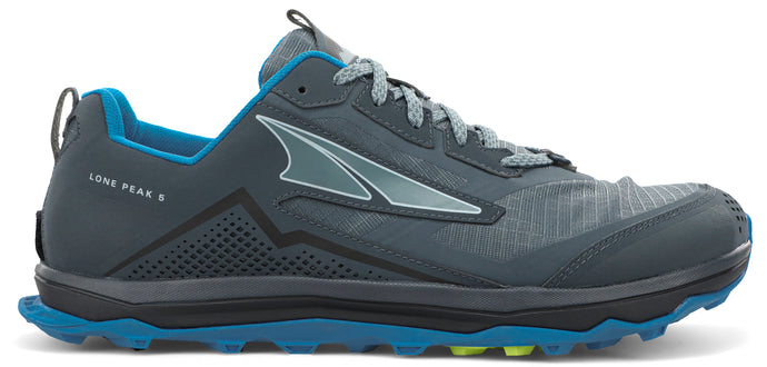 Altra Men's Lone Peak 5 Trail Running Shoe in Blue/Lime from the side