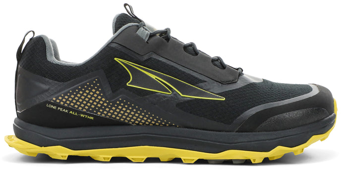 Altra Men's Lone Peak ALL-WTHR Low Trail Running Shoe in Black/Yellow from the side