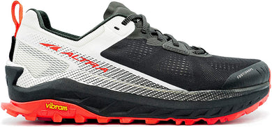 Altra Men's Olympus 4 Trail Running Shoe in Black/White from the side