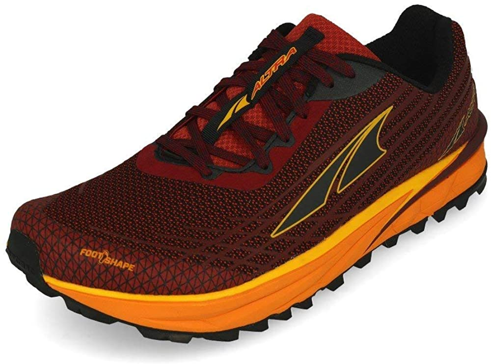 Altra Men's TIMP 2 Trail Running Shoe in Dark Red/Orange from the side