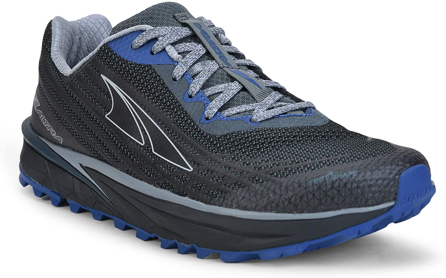 Altra Men's TIMP 2 Trail Running Shoe in Gray/Blue from the side