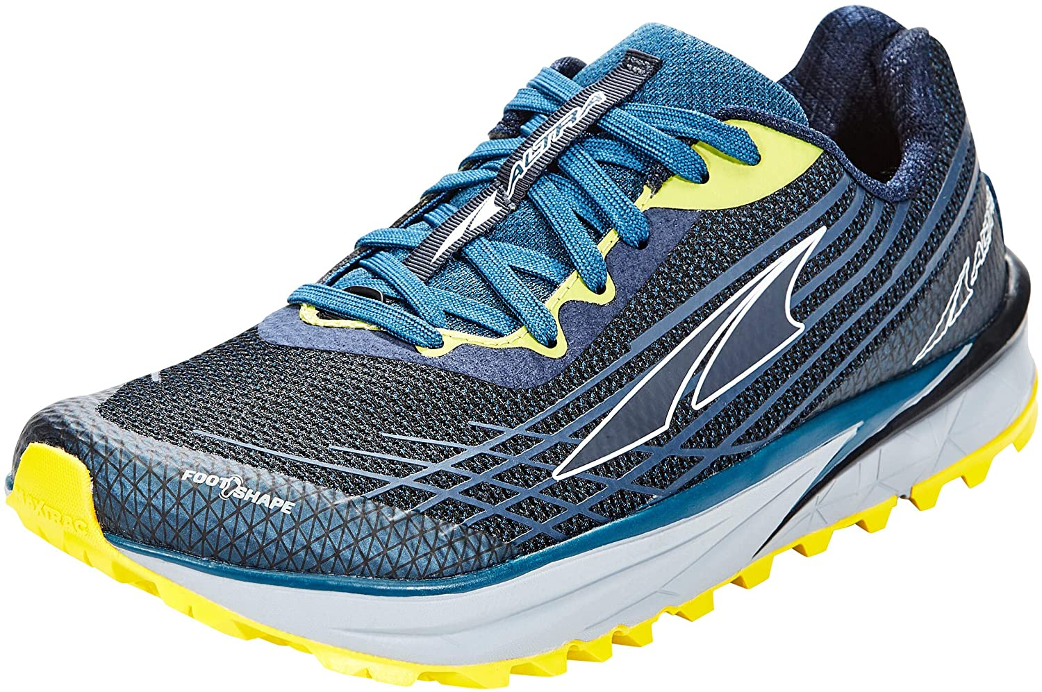Altra Men's TIMP 2 Trail Running Shoe in Moroccan Blue/Yellow from the side