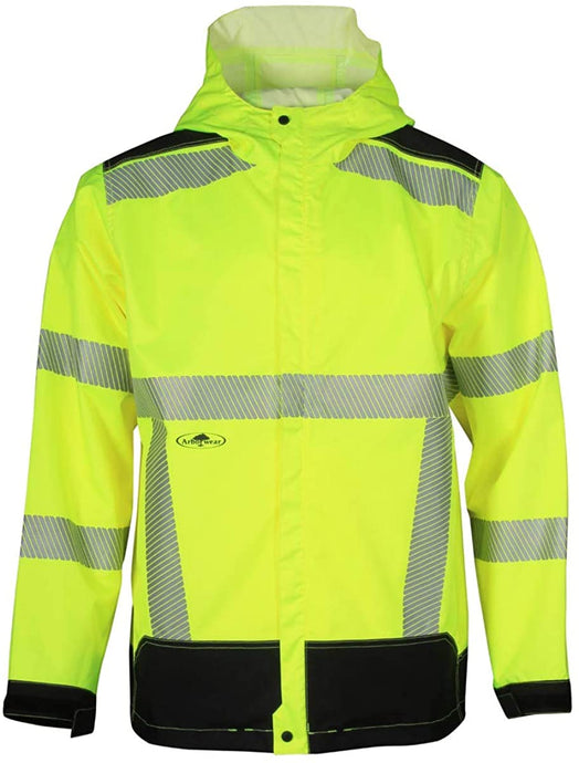 Men's Arborwear Hvsa Acacia Rain Class 3 Jacket Hi Viz in Yellow