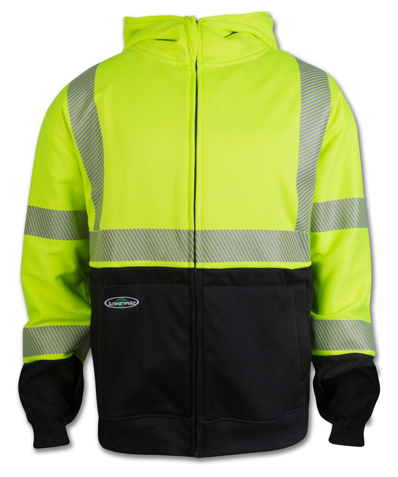 Men's Arborwear HVSA Tech Double Thick Full Zip (Class 3) Sweatshirt in Hi Viz Yellow from the front view