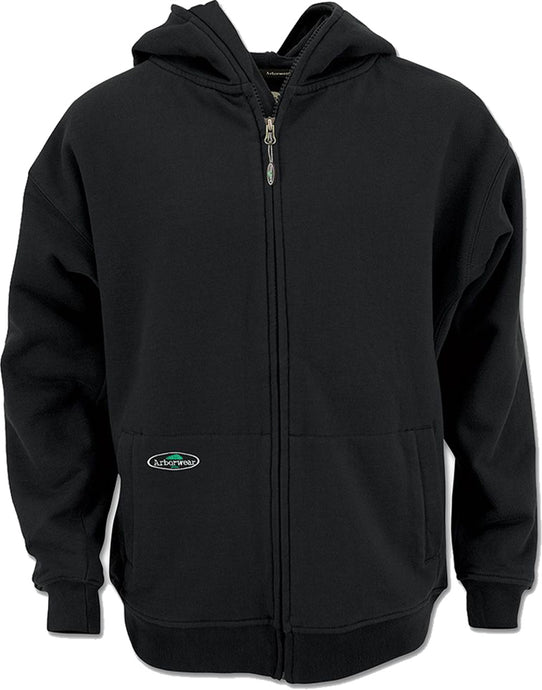 Men's Arborwear Single Thick Full Zip Sweatshirt in Black from the front view