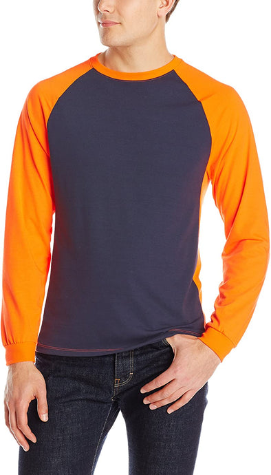 Men's Arborwear Tone Tech Long Sleeve T Shirt Navy Safety in Orange