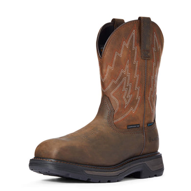 Men's Ariat Big Rig Waterproof Composite Toe Work Boot in Dark Brown/Distressed Brown