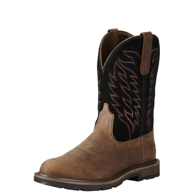 Men's Ariat Groundbreaker Pull-On Work Boot in Brown
