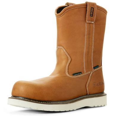 Men's Ariat Rebar Wedge Pull-On Waterproof Composite Toe Work Boot in Golden Grizzly