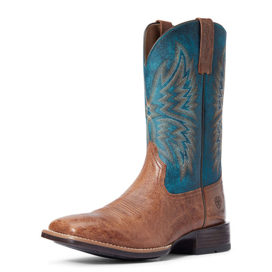 Men's Ariat Valor Ultra Western Boot in Dark Tan/Rocky Blue