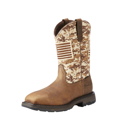 Men's Ariat WorkHog Patriot Steel Toe Work Boot in Earth/ Sand Camo