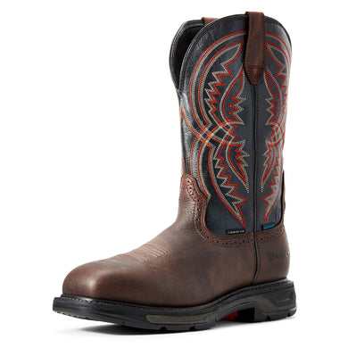 Men's Ariat WorkHog XT Coil Waterproof Carbon Toe Work Boot in Briar Brown