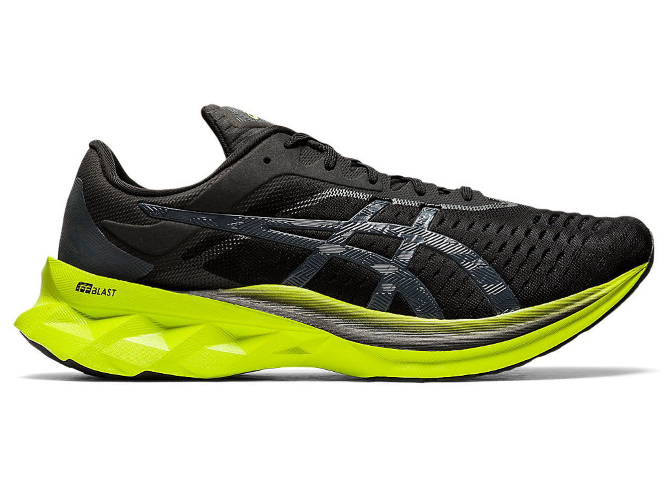 Men's Asics Novablast Running Shoe in Black/Lime Zest from the side