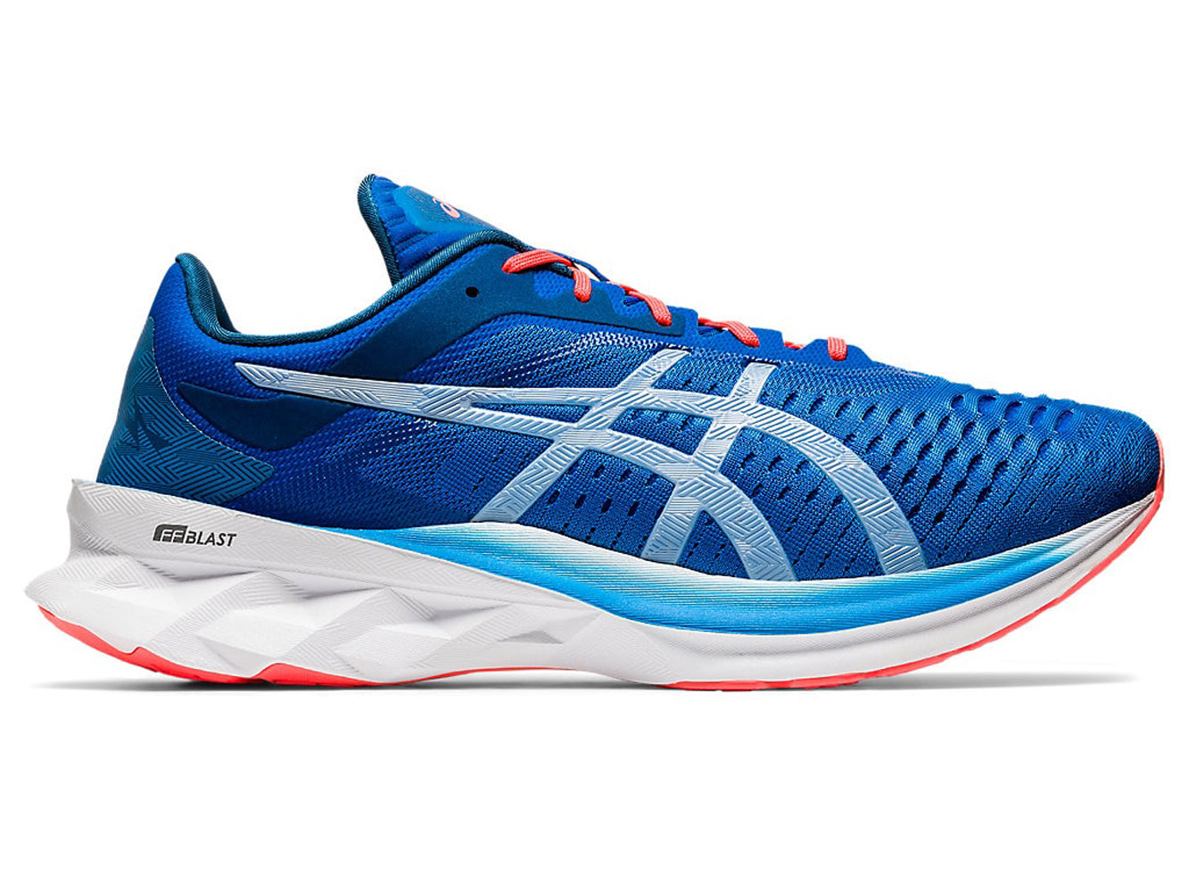 Men's Asics Novablast Running Shoe in Directoire Blue/White from the side