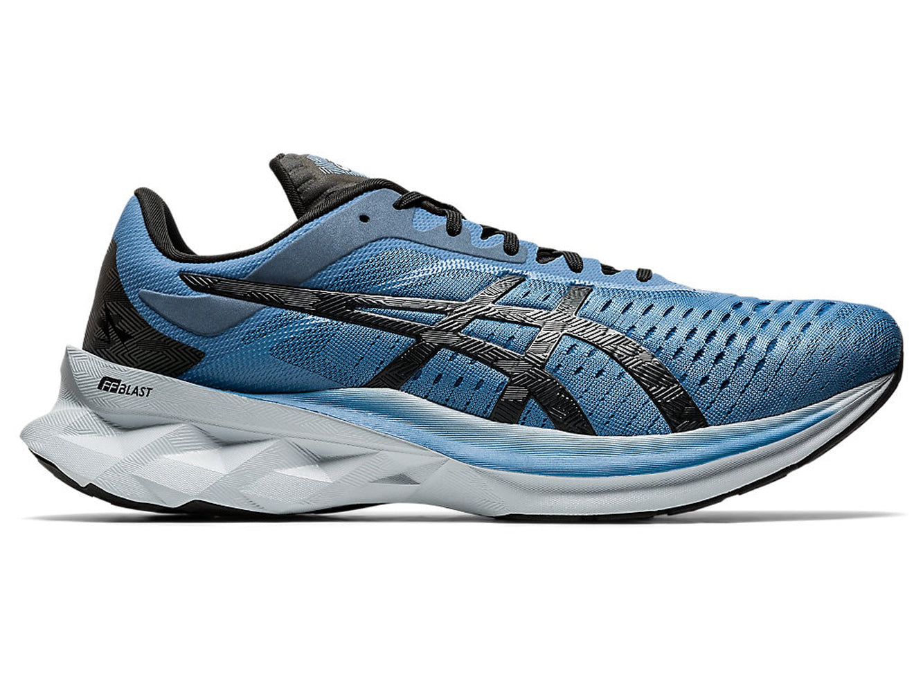 Men's Asics Novablast Running Shoe in Grey Floss/Black from the side