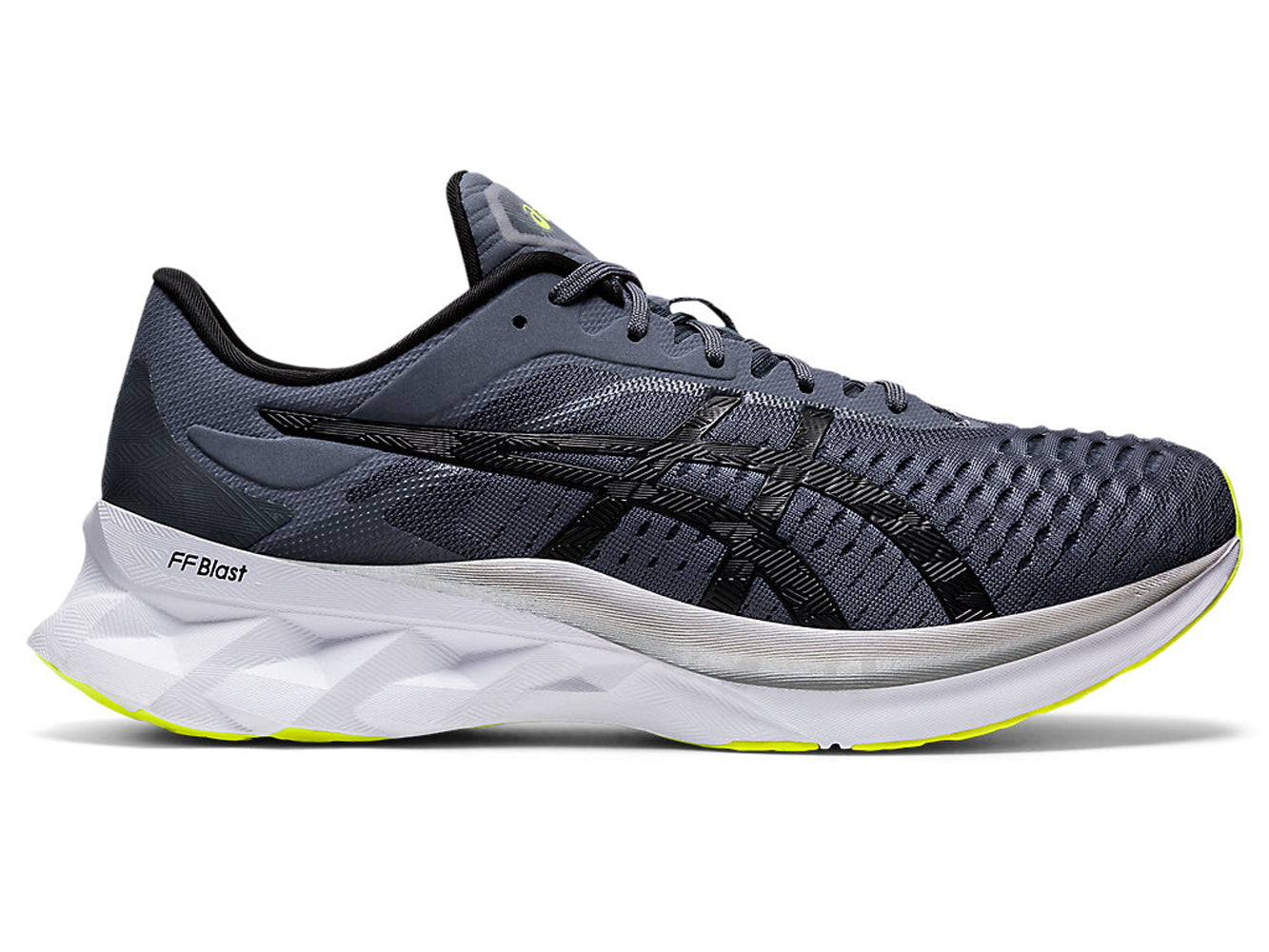 Men's Asics Novablast Running Shoe in Metropolis/Black from the side