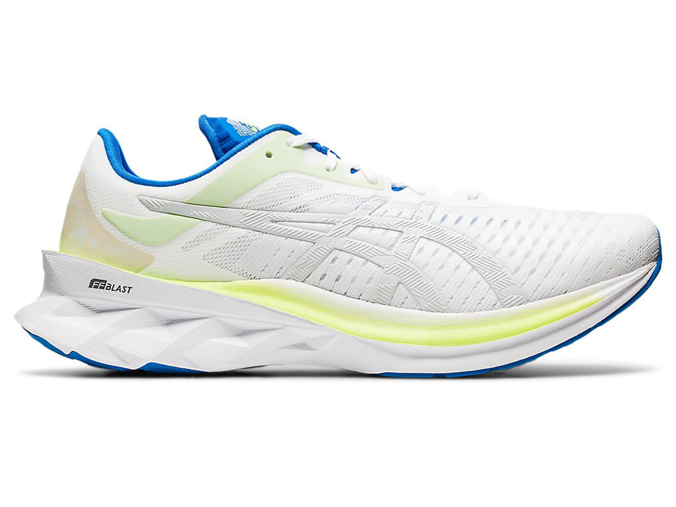 Men's Asics Novablast Running Shoe in White/Glacier Grey from the side