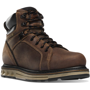 "Danner Men's Steel Yard 6"" Wedge Steel Safety Toe Work Boot in Brown from the side"