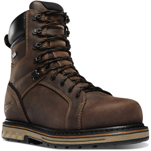 "Danner Men's Steel Yard 8"" Steel Safety Toe Work Boot in Brown from the side"