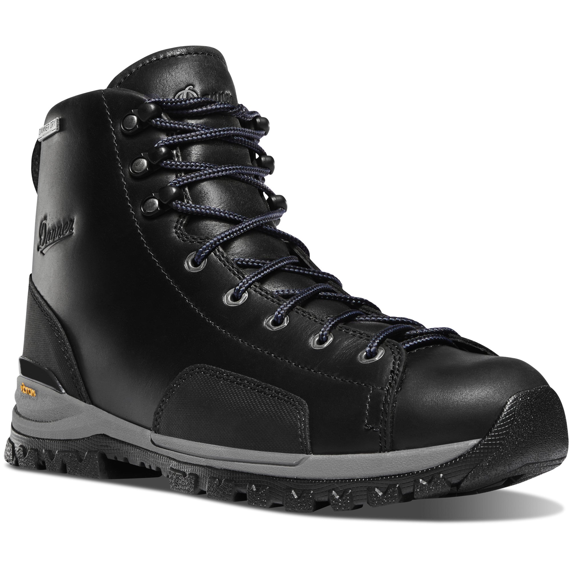 "Danner Men's Stronghold 6"" Waterproof Non-Metal Toe Work Boot in Black from the side"