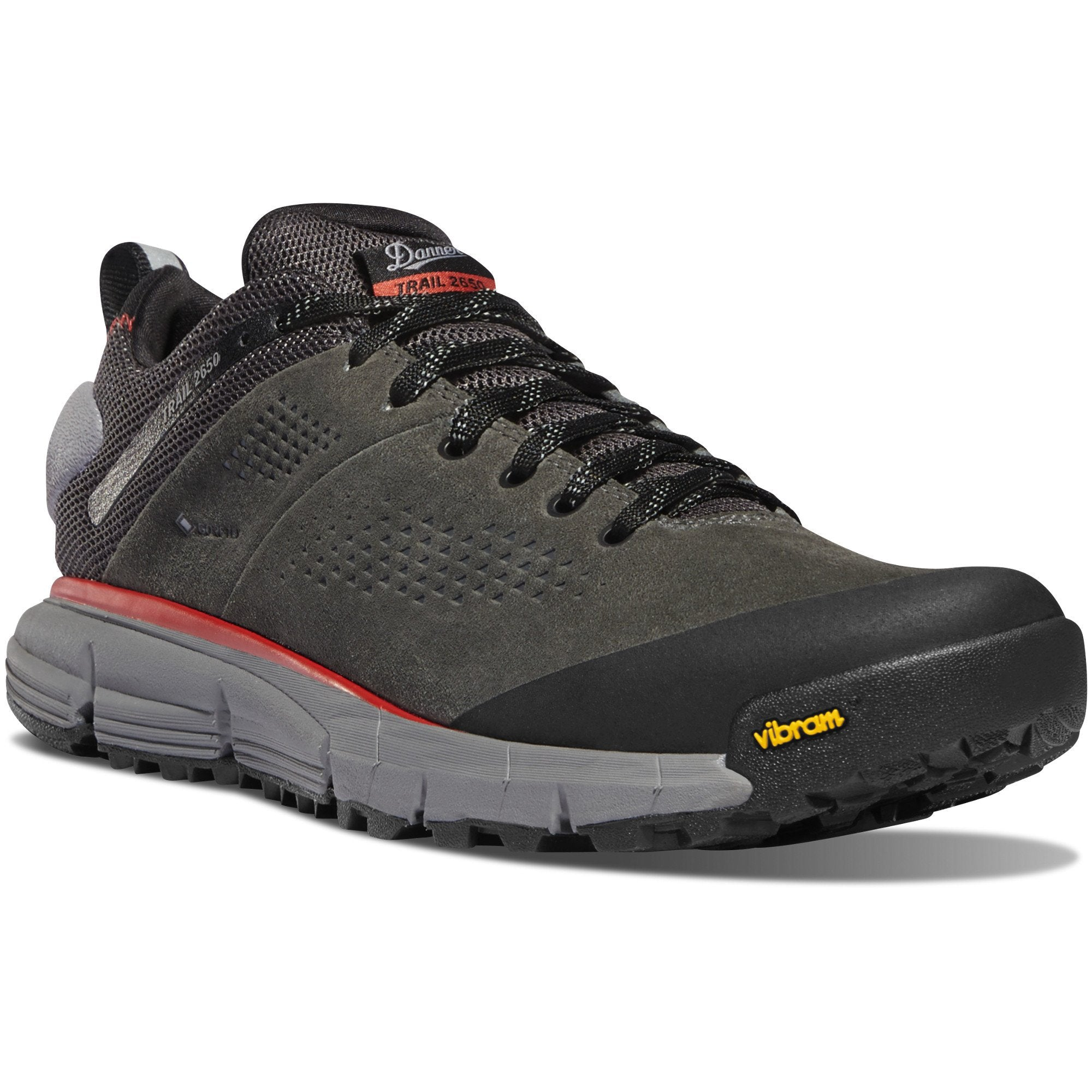 "Trail 2650 3"" Gore-Tex Hiking Shoe in Dark Gray/Brick Red color from the side view"