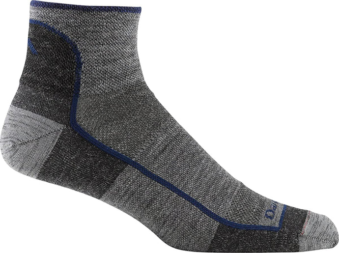 Men's Darn Tough 1/4 Sock Light Sock in Charcoal from the side view