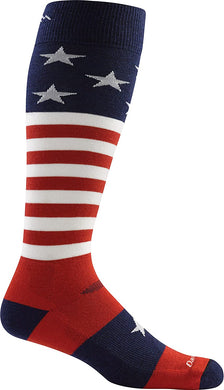 Men's Darn Tough Captain Stripe OTC Midweight with Cushion Sock in Stars_And_Stripes