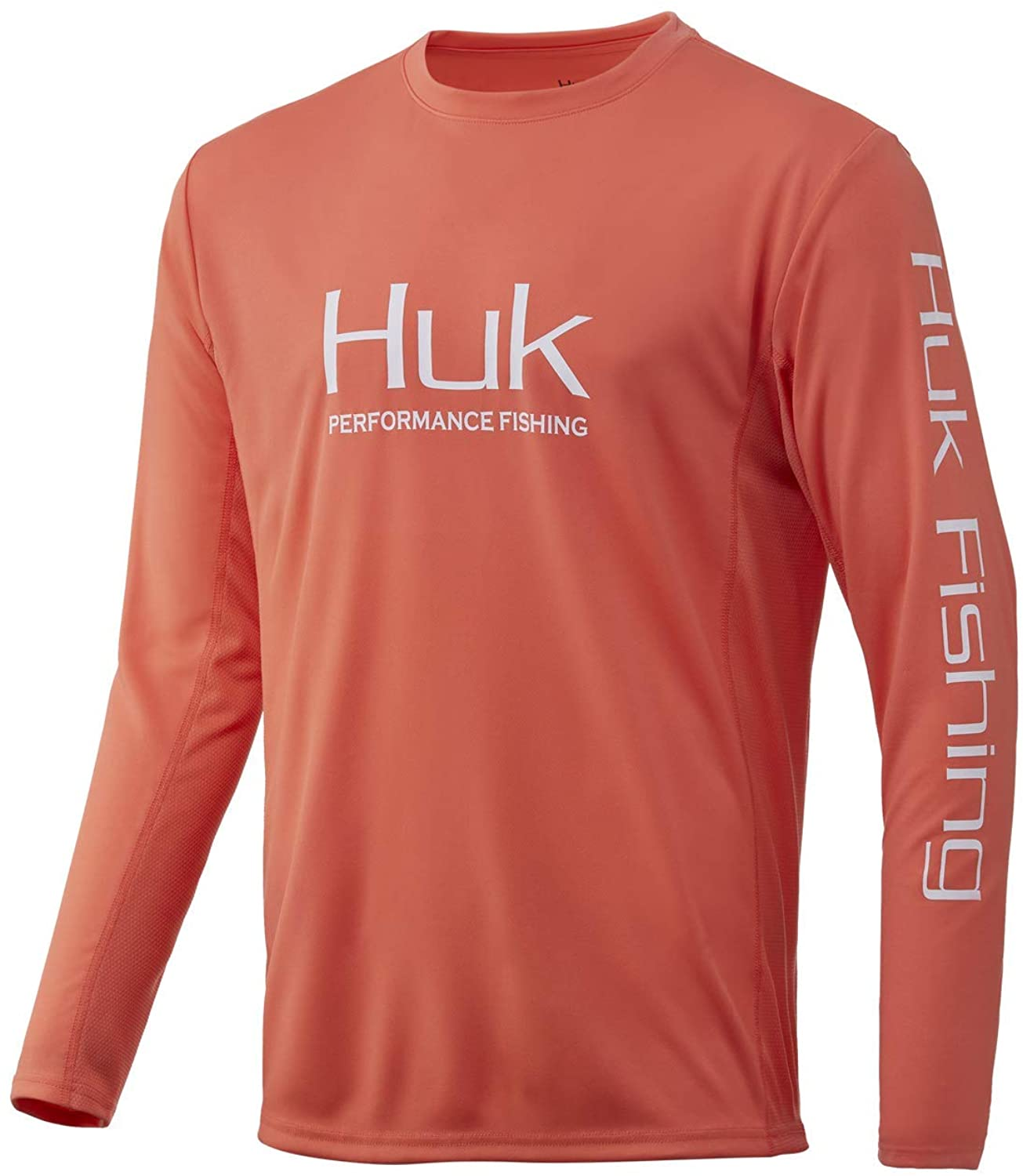 Men's Huk Icon X Long Sleeve Shirt in Fusion Coral from the front